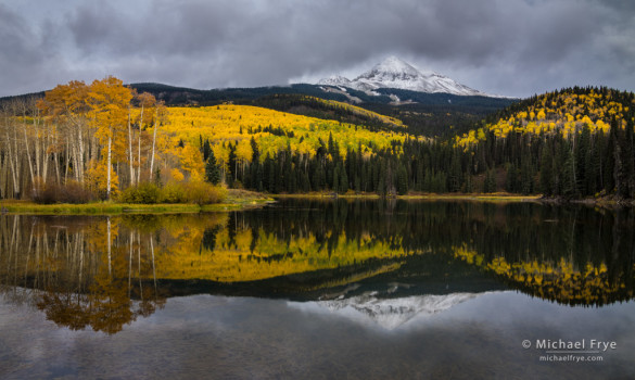 Aspens and reflections at Woods Lake, Uncompahgre NF, CO, USA