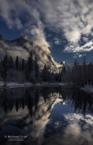 Three Brothers by moonlight during a clearing snowstorm, Yosemite NP, CA, USA