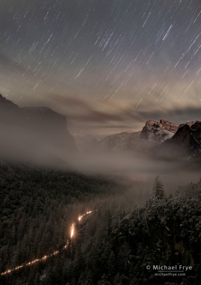 Star trails over Yosemite Valley from Tunnel View, Yosemite NP, CA, USA