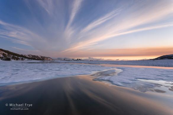 Melting ice on a high-country lake, Yosemite NP, CA, USA