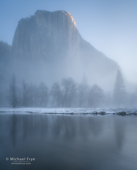 Misty morning with El Capitan and the Merced River, Yosemite NP, CA, USA