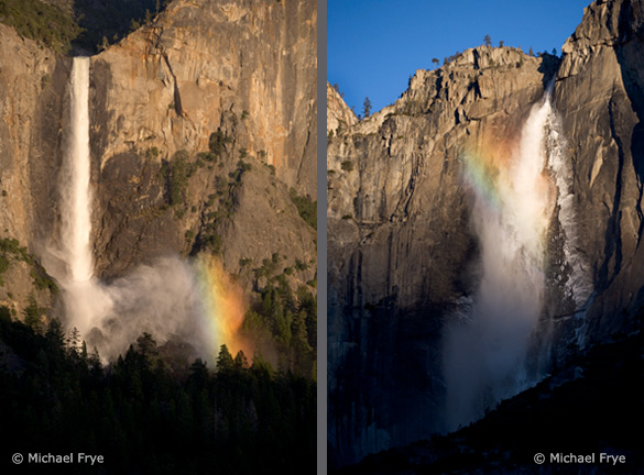 "Two examples of off-center vertical compositions: Bridalveil Fall on the left is balanced by the rainbow on the right; Upper Yosemite Fall ""faces"" left, so it seems natural to place it slightly right of center"