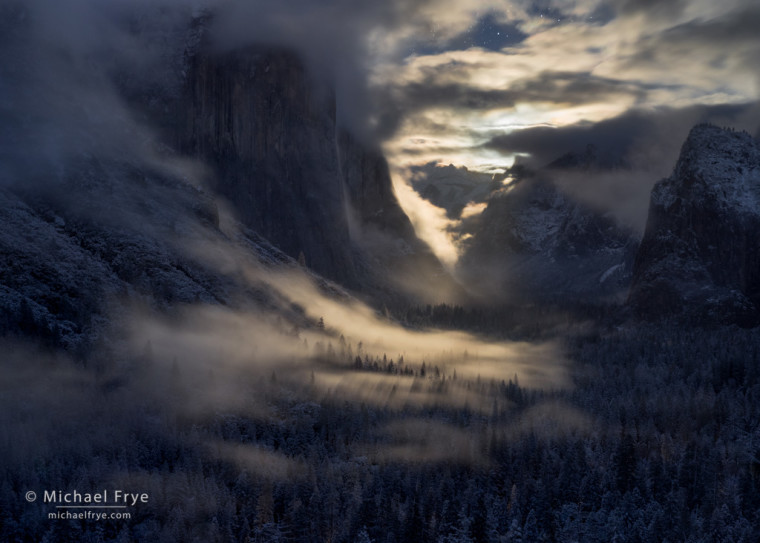Clearing storm by moonlight from Tunnel View, Yosemite NP, CA, USA
