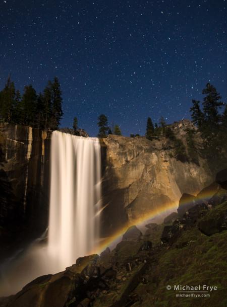 Lunar rainbow beneath Vernal Fall, Yosemite; 20 seconds at f/2.8, ISO 2500