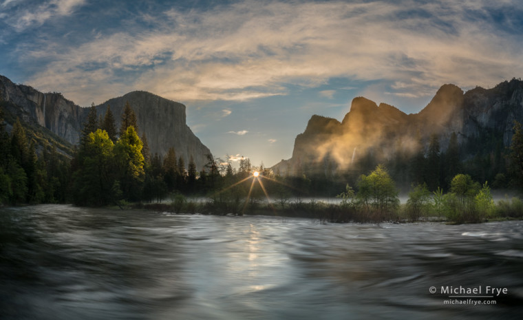 Spring sunrise, Gates of the Valley, Yosemite NP, CA, USA