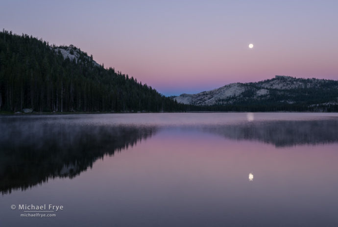 Moon setting over Tenaya Lake at dawn, Yosemite NP, CA, USA