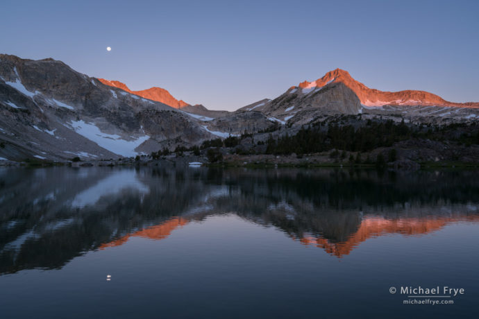 Moon setting above Mt. Conness and North Peak at sunrise, Inyo NF, CA, USA