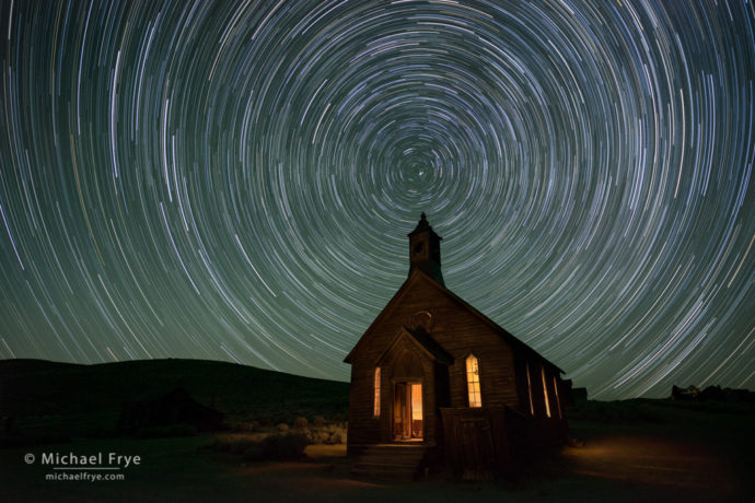 Star trails over the Methodist Church, Bodie State Historic Park, CA, USA