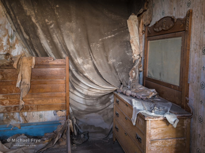 Bedroom in the morgue, Bodie State Historic Park, CA, USA
