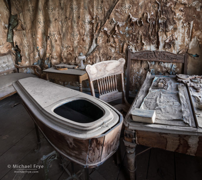 Interior of the morgue, Bodie State Historic Park, CA, USA