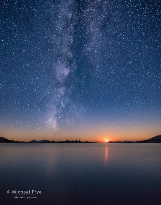Moon setting over an alpine lake, Yosemite NP, CA, USA