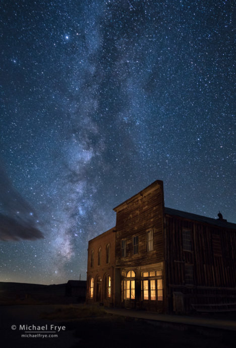 DeChambeau Hotel and I.O.O.F. Hall at night, Bodie State Historic Park, CA, USA