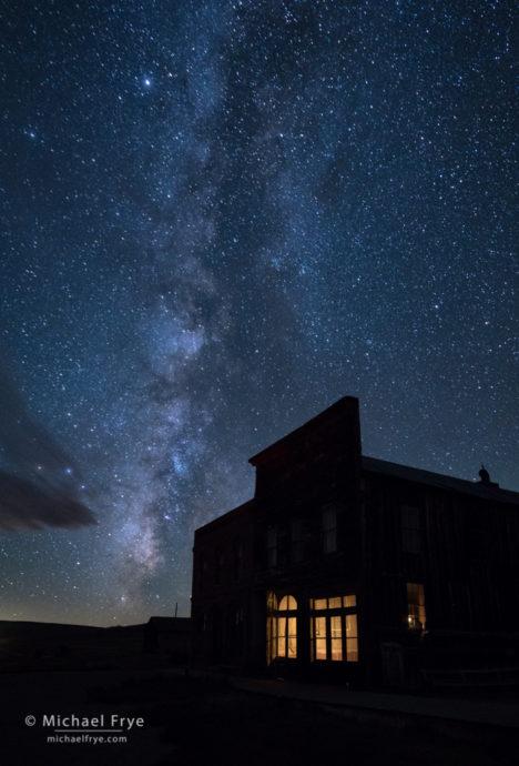 DeChambeau Hotel and I.O.O.F. Hall at night, Bodie State Historic Park, CA, USA