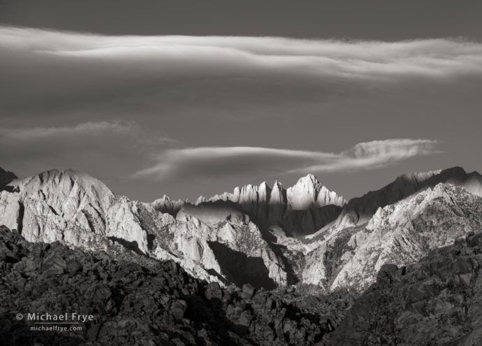 Sunrise on Mt. Whitney from the Alabama Hills, CA, USA