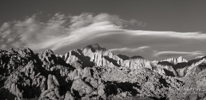 Early morning light on Lone Pine Peak, Mt. Whitney, and the Alabama Hills, CA, USA
