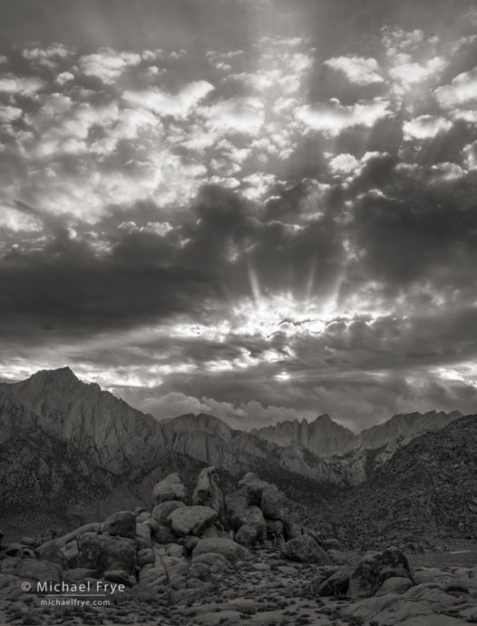 Sunset over Mt. Whitney from the Alabama Hills, CA, USA