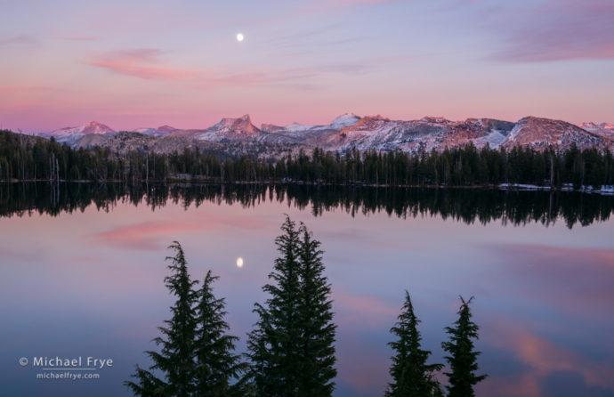 Moonrise over the Cathedral Range from May Lake, Yosemite NP, CA, USA