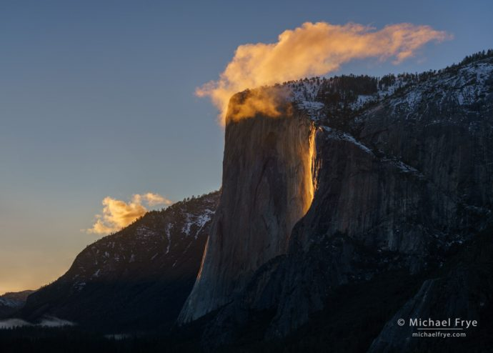 10. El Capitan and Horsetail Fall at sunset, Yosemite NP, CA, USA