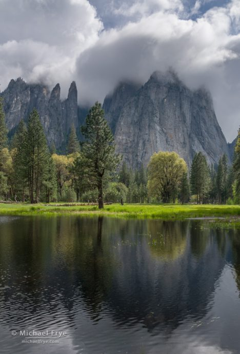 19. Cathedral Rocks and Spires and a spring pond, Yosemite NP, CA, USA