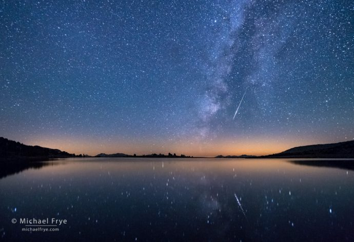 33. Meteor and the Milky Way over an alpine lake, Yosemite NP, CA, USA