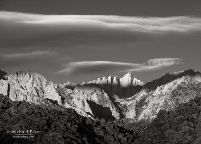 35. Sunrise on Mt. Whitney from the Alabama Hills, CA, USA