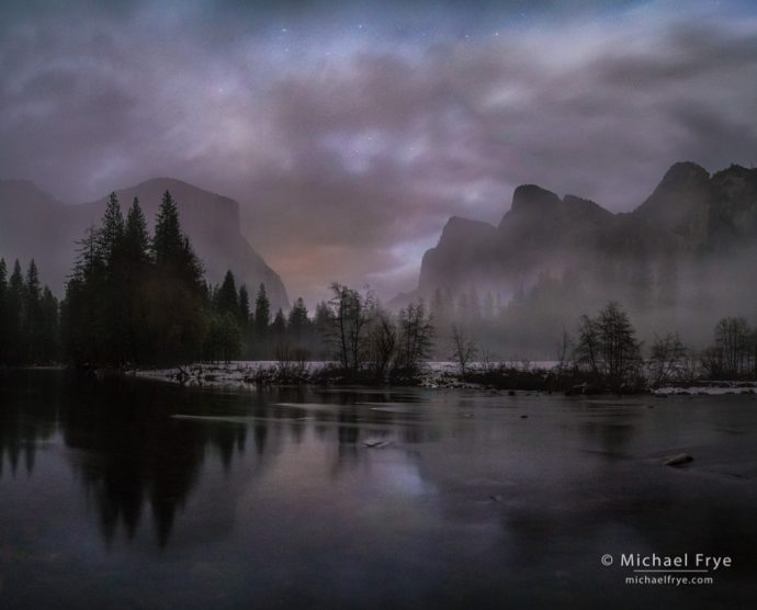44. Misty night, Gates of the Valley, Yosemite NP, CA, USA