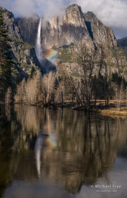 Upper Yosemite, rainbow, and reflection in the Merced River, Yosemite NP, CA, USA