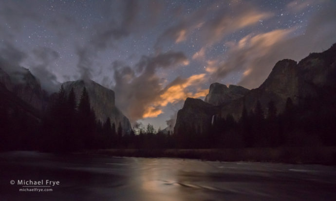 Clouds lit by the rising moon, Gates of the Valley, Yosemite NP, CA, USA