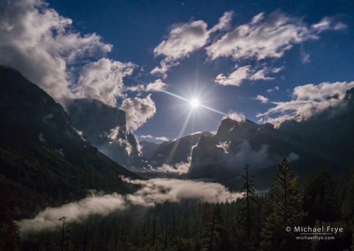 Moon over Yosemite Valley, Yosemite NP, CA, USA