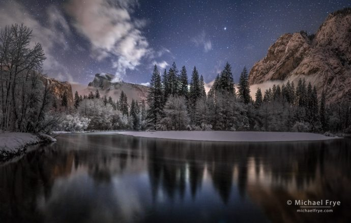 Moonlit winter night with Half Dome, Glacier Point, and the Merced River, Yosemite NP, CA, USA