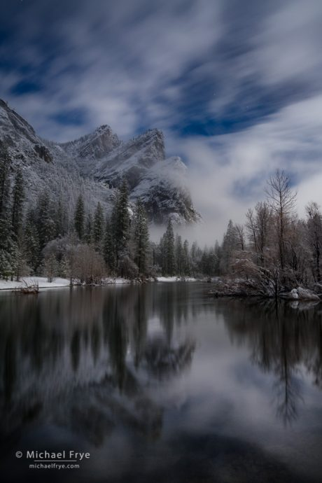 Three Brothers and the Merced River by moonlight, Yosemite NP, CA, USA