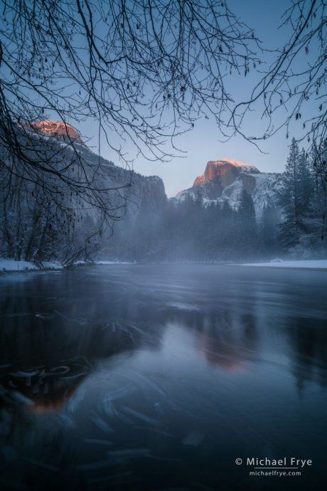 Half Dome, North Dome and the Merced River at sunset, Yosemite NP, CA, USA