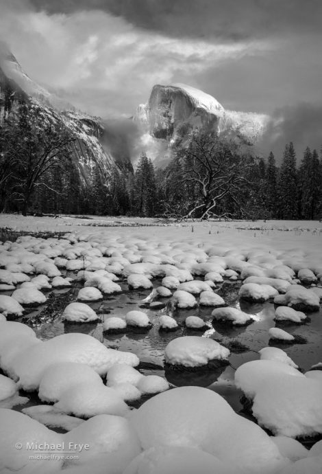 Half Dome and Cook's Meadow, winter, Yosemite NP, CA, USA
