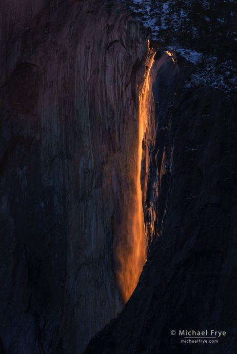 Horsetail Fall at sunset, February 18th, 2016