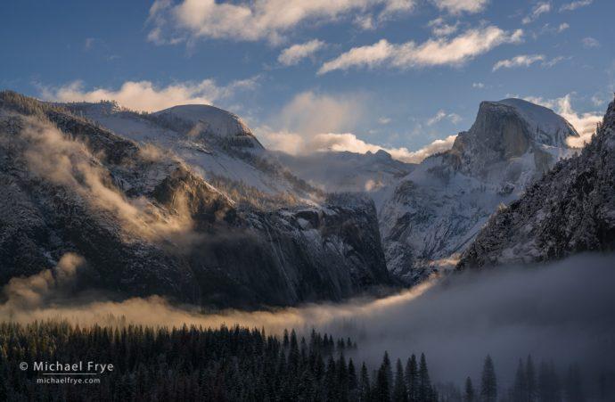 Morning light on Half Dome and North Dome, Yosemite NP, CA, USA