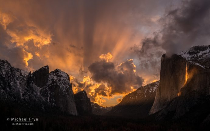 Sunset over Yosemite Valley with Cathedral Rocks, El Capitan, and Horsetail Fall, Yosemite NP, CA, USA