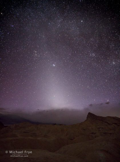 Zodiacal light over Manly Beacon and a dust storm, Death Valley NP, CA, USA