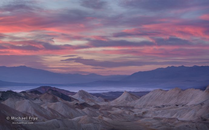 Sunset from Twenty Mule Team Canyon, Death Valley NP, CA, USA