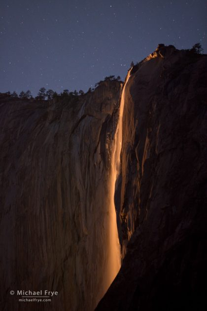 Horsetail Fall by moonlight, Yosemite NP, CA, USA