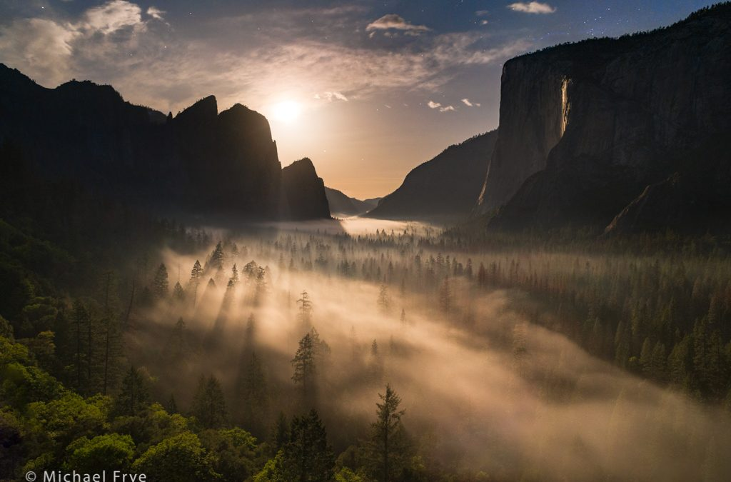 Moon Setting over Yosemite Valley and Horsetail Fall
