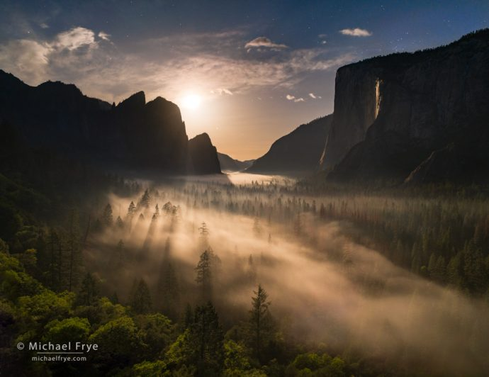 Moon setting over Yosemite Valley and Horsetail Fall, Yosemite NP, CA, USA