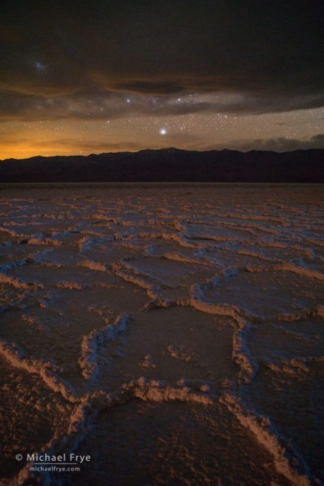 Salt flats at night, Badwater, Death Valley NP, CA, USA