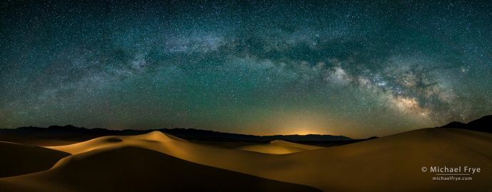 Milky Way over sand dunes, Death Valley NP, CA, USA