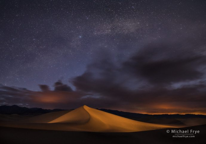 Sand dune and Milky Way, Death Valley NP, CA, USA