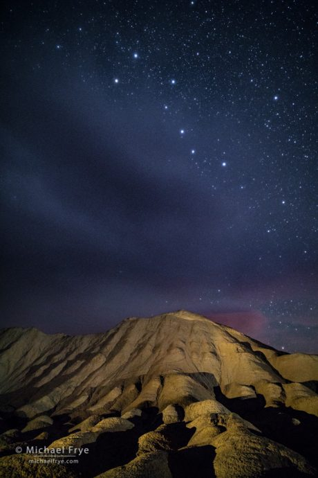 Twenty Mule Team Canyon with the Big Dipper, Death Valley NP, CA, USA