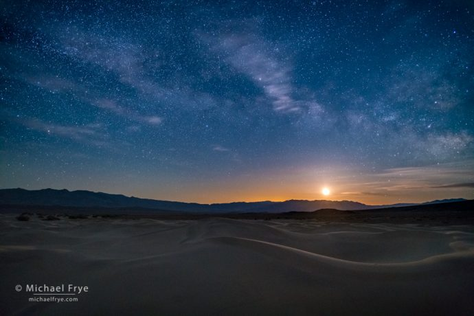 Moon rising over the Mesquite Flat Dunes, Death Valley NP, CA, USA