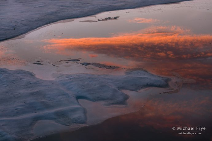 Deep Freeze High Country: Cloud reflected in Middle Gaylor Lake at sunset, Yosemite NP, CA, USA