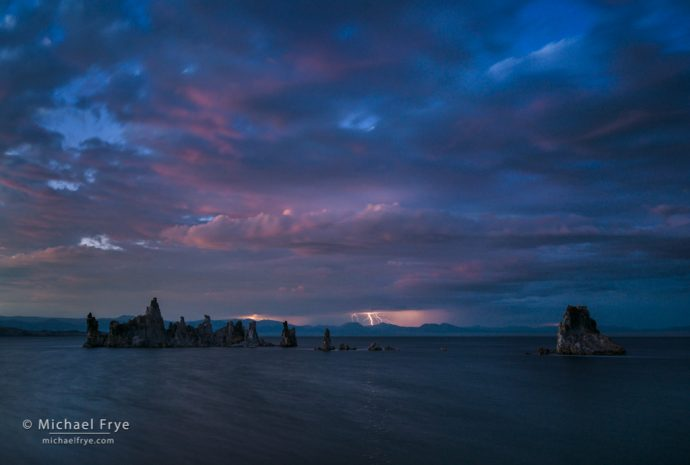 Lightning at dusk, Mono Lake, CA, USA