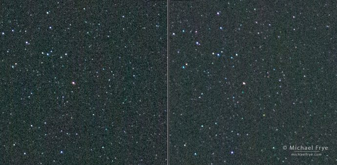 "A comparison of a 3-second exposure (left) with a 4-second exposure (right) using the ""star-eater"" firmware (version 3.3) on my Sony a7R II (the ""star-eater"" noise-reduction algorithm kicks in with exposures longer than 3 seconds)SonyAlphaRumors. Most of the tiniest starts are still visible in the 4-second exposure, but noticeably softened and indistinct. (Click on the image to view at 100%.)"