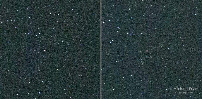 A comparison of a 3-second exposure (left) with a 4-second exposure (right) using the latest firmware (version 4.0) on my Sony a7R II. The softening effect is less apparent than with the previous firmware version, so tiny stars are more visible and distinct. (Click on the image to view at 100%.) SonyAlphaRumors
